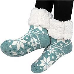 Kfnire calcetines de algodón calcetines térmicos Adulto Unisex Calcetines en casa con suela antideslizante