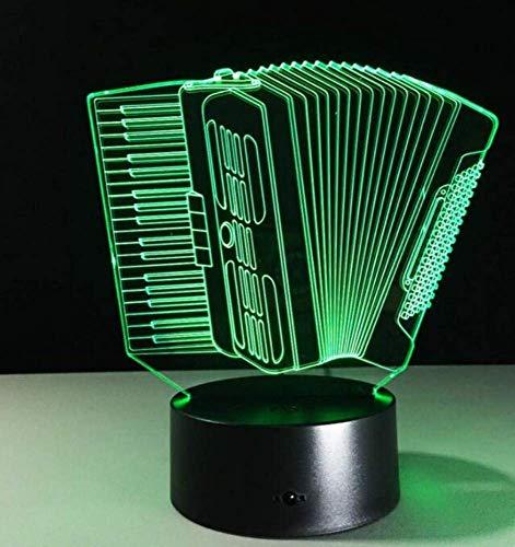 Nachtlicht Wandleuchte Led Lampe Musik Instrument Akkordeon 3D USB Led Lampe Romantische 7 Farben Ändern Stimmung Atmosphäre Tischdekoration Nachtlicht Geschenk für Küche Schlafzimmer Wohnzimmer, Qi
