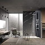 WENHAUS Schwarz Glass Duschpaneel Duschsäule 3 Duschfunktionen Mit Regenduschkopf 6 Massagejets Und Handbrause (600015)