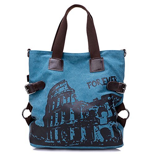 BYD - Donna Large Bag Borse a spalla Mutil Pocket Design Bag Crossbody Bag Borse Tote Borse a mano Canvas with Rome Arena Picture Blu
