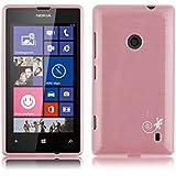 JAMMYLIZARD | Back Cover Hülle für Nokia Lumia 520 Schutzhülle aus Silikon in Gebürstetes Aluminium Optik, HELLROSA