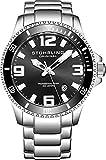 Stuhrling Original, orologio subacqueo professionale da uomo, analogico, in acciaio inossidabile, orologio svizzero al quarzo