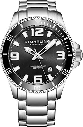 Stuhrling Original Herren-Armbanduhr Analog Quarz 395.33B11 - Invicta Silikon Watch Bands