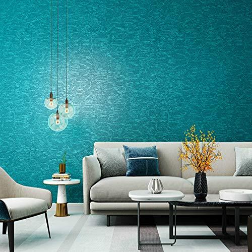 ZHAOJIANHUI Papier Peint Vert Bleu Clair Paon Couleur Unie Fond d'écran Bleu imperméable caractéristique texturé PVC,10mx53cm