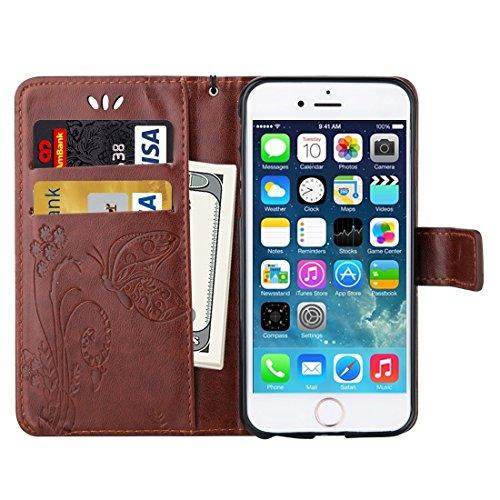 Wkae Case & Cover Pour iPhone 5 &5s &SE Crazy Horse Texture Printing Horizontal Flip en cuir avec support &Card Slots &Wallet &Longe ( Color : Dark Blue ) Coffee