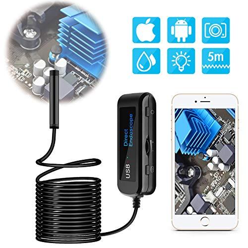 DIZA100 USB Endoskop, Wasserdicht Boreskop,5.0 Megapixel 1200P HD Endoskopkamera,IP67 Wasserdichte mit 8 LED-Leuchten für IOS Android Smartphone,Tablette - 5 Meter (Starren Snake-Kabel)