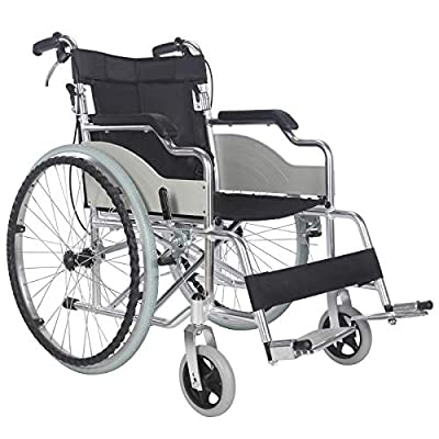 Superworth Luxury Self Propelled Wheelchair Aluminium Ultra Lightweight Folding Comfortable Portable Propelled Transit Travel Hand Brakes Puncture Proof Wheels 100kg Capacity