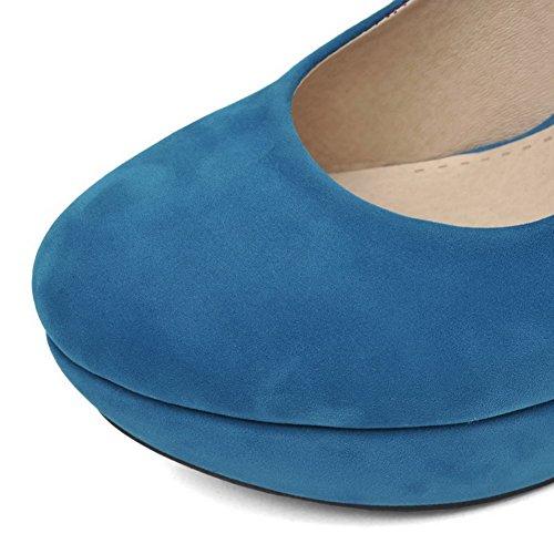 AllhqFashion Femme à Talon Haut Couleur Unie Tire Rond Fermeture D'Orteil Chaussures Légeres Bleu