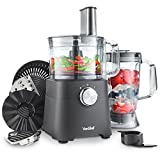 VonShef 750W Food Processor - Blender, Chopper, Juicer, Multi Mixer with Dough Blade, Shredder & Grater Attachment - 2L Mixing Bowl & 1.8L Jug