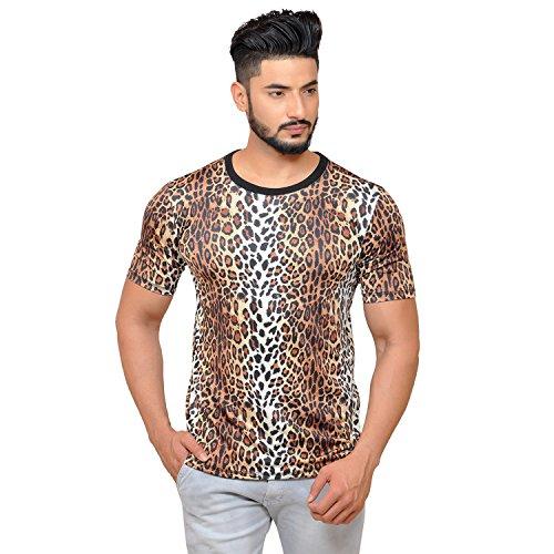 Yuvraah Men's Polyester Blended Leopard Patch T-Shirt (Multicolour, 2X-Large)