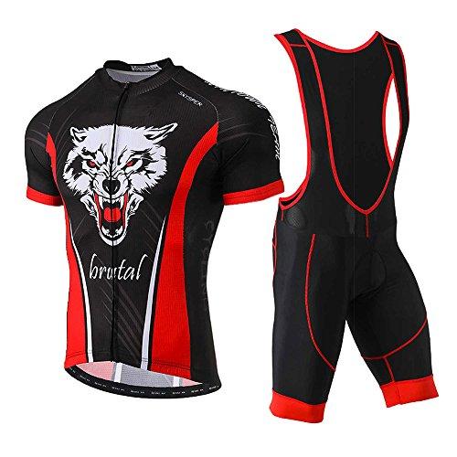 SKYSPER Radtrikot Set Herren Fahrradbekleidung Kurzarm im Sommer Radfahren Jersey + Latzhose Shorts