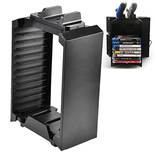 Handwerk Dvd-rack (Bewinner Aufbewahrungshalter für PS4, Vertikaler Konsolenständer für PS4 Speicherturm-Lüfter Game Disk Rack-Halter für PS4 Slim PRO Xbox One)