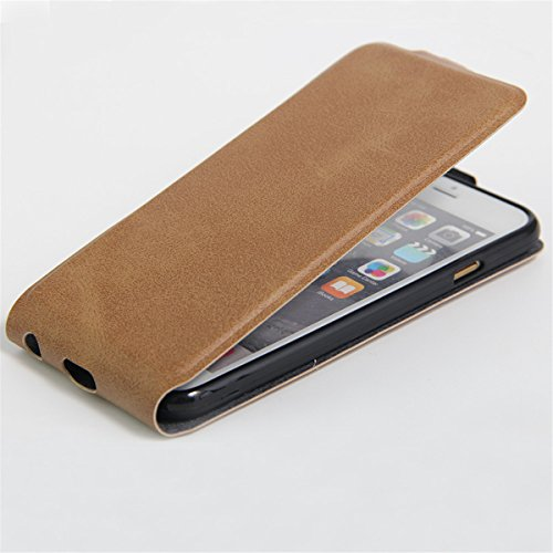 iPhone 6 Hülle Case,iPhone 6S Hülle Case,Gift_Source [Photo Card Slot] [Stand Feature] Elegant Up-Down Open Magnetic Snap Hülle Case Premium PU Leder Hülle Case Flip Hülle Case Cover für iPhone 6s / 6 E01-02-Brown160614