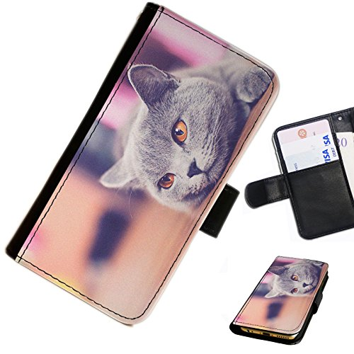 Hairyworm- Katzen Samsung Galaxy S6 Edge (SM-G925, SM-G9250, SM-G925F, SM-G925FQ, SM-G925S, SM-G925V) Leder Klapphülle Etui Handy Tasche, Deckel mit Kartenfächern, Geldscheinfach und Magnetverschluss.