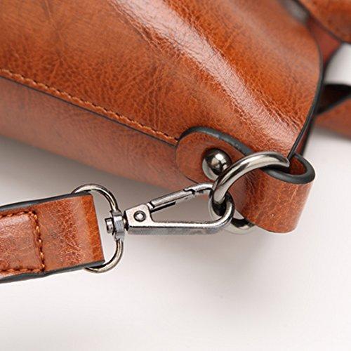 FOLLOWUS Damen PU Leder Handtaschen Top Handle Taschen Büro Lady Schultertaschen Braun