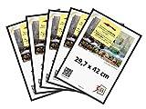 3-B Set de 5 pièces Cadres FOTO - 29,7x42 (A3) - Noir - Cadre en Plastique, Cadre pour Photo