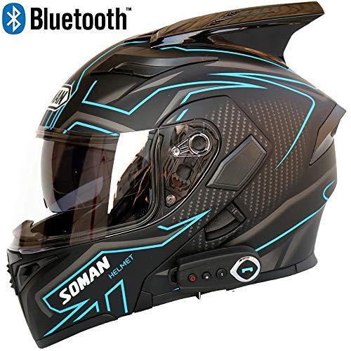 Casco da moto Bluetooth per uomo Smart Helmet Anti-Fog D.O.T Doppia visiera multifunzione Flip Full Face Caschi modulari,M