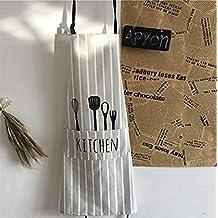 Grembiule da reggiseno regolabile con 1 taschine Cucina grembiule da cucina per le donne Uomini Chef, Stripe