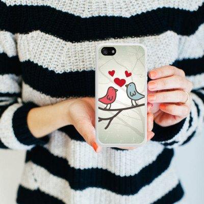 Apple iPhone 5 Housse Étui Protection Coque C½ur Oiseau Amour Housse en silicone blanc