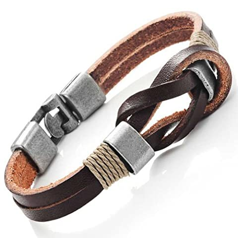 Dark Brown Genuine Leather Nautical Knot Bracelet with Silver Clasps for Him and Her, Unisex, 8