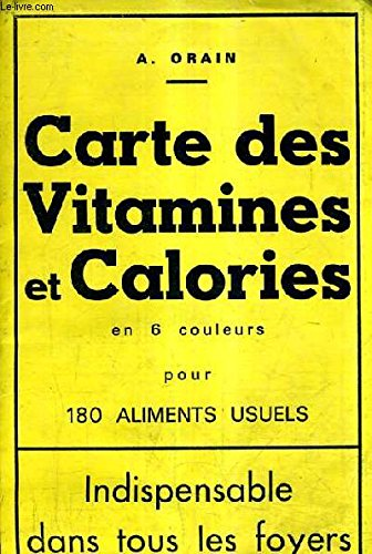 CARTE DES VITAMINES ET CALORIES EN 6 COULEURS POUR 180 ALIMENTS USUELS.