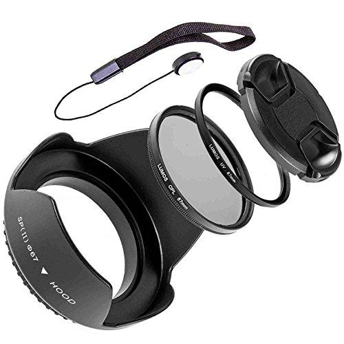 LUMOS 5er Zubehör Set mit 67mm Gegenlichtblende UV Filter CPL Polfilter Objektivdeckel und Halter für jedes Nikon Kamera Objektiv mit 67mm Filtergewinde Nikon Coolpix P900 / Nikkor AF-S 18-105mm / AF-S 18-140mm VR