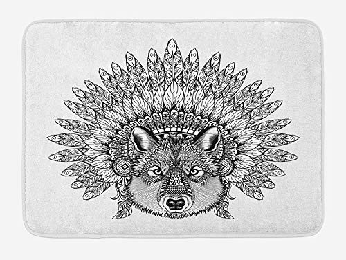 Wolf Bath Mat, Hand-Drawn Zentangle Wolf with Detailed Feather Headdress of Native American Chef, Plush Bathroom Decor Mat with Non Slip Backing, 23.6 W X 15.7 W Inches, Black And White