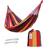 Kottle doble 2 persona de viaje hamaca que acampa, hamaca de tela de algodón suave con cuerda resistente (Naranja)