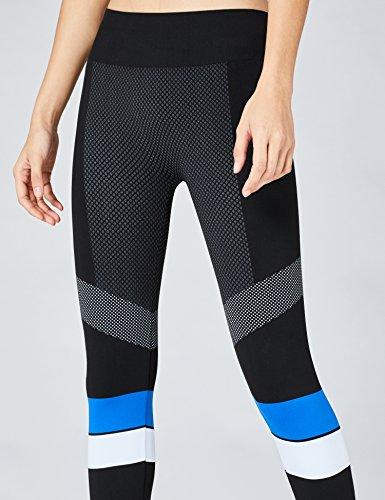 FIND Sport Leggings Damen Schwarz (Black/Blue/White)