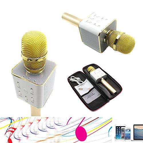YOCILO Bluetooth Lautsprecher Karaoke Player Gold Kabellos Mikrofon für KTV Karaoke Player Kompatibel für Handy iPhone und Android oder PC mit USB (Gold) -