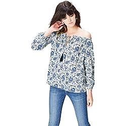 FIND Floral Off the Shoulder Blusa para Mujer, Azul (Blue Mix), 40 (Talla del Fabricante: Medium)