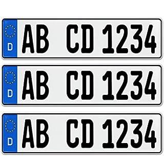 3 x EU KFZ Nummernschilder Autoschilder Kennzeichen ALLE AUTOMARKEN mit individueller Prägung nach Ihren Vorgaben + KFZ Schein Schutzhülle