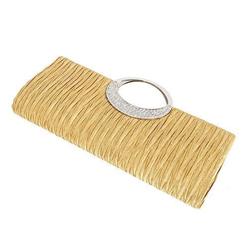 Plissee Strass (jEZmiSy Frauen Luxus Strass Satin Plissee Abendtasche Party Clutch Handtasche Handtasche Golden)