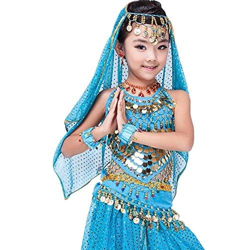 Byjia Mädchen Bauchtanz Rock Indien Sequins Handmade Tüll Stickerei multicolor Kleidung Kostüm Kinder Party Modern Professional Performance blue (Dance Irish Stickerei Kostüm)