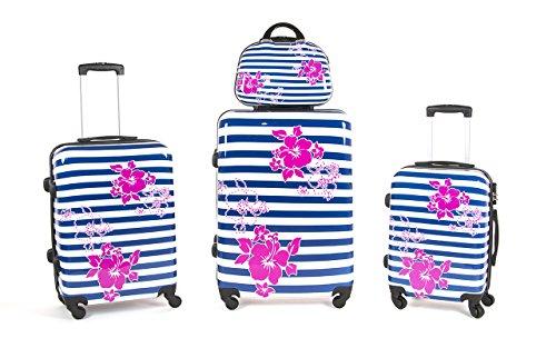 Set4 valigie trolley in policarbonato abs ultraleggeri con 4 ruote piroettanti trolley piccolo da cabina per compagnie lowcost e beauty case art set c/fiori