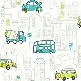 Tapete Kinderzimmer Autos Bus LKW Stadt | schöne grün blau türkise niedliche Tapete für Jungen und Mädchen | inklusive der Newroom-Tapezier-Profi-Broschüre, mit super Tipps zum Tapezieren! -