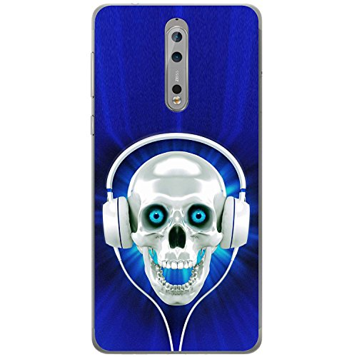 Teschio con cuffie cover/custodia per Nokia cellulari, Blue Skull With Headphones, Nokia 8