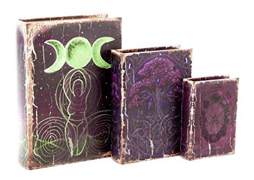 Bellaa 28229 Book Box Secret Triple Déesse Croissant de Lune Stash l'arbre de Vie Celtique Pentacle Wicca Pagan