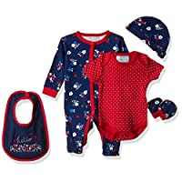 Lilly And Jack Spring Flowers Clothes for Baby Girls, 0-3 Months - Multicolour (Navy/Red), Pack of 5