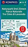 Naturpark Drei Zinnen, Parco Naturale Tre Cime di Lavaredo: 4in1 Wanderkarte 1:25000 mit Aktiv Guide und Panorama inklusive Karte zur offline ... Skitouren. (KOMPASS-Wanderkarten, Band 47)