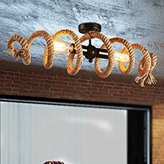 Good Thing Loft Water Pipe Hemp Rope Ceiling Lamp Cafe Lights Nordic Retro Industrial Ceiling Lamps