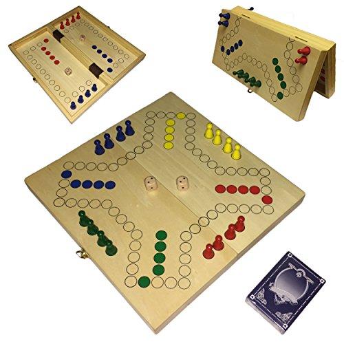 Tock Spiel, Dog, Keezen magnetisch aus Holz, 30x30 cm mit Karten und Spielfiguren
