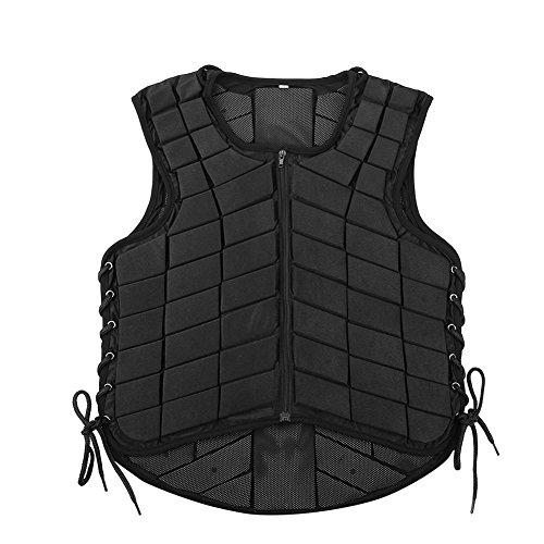 AYNEFY Rückenprotektor,Sicherheitsweste Erwachsener Schutzweste Reitweste Reitsport Weste Rückenprotektor Erwachsener Komfort und Leicht Für Erwachsener Reitschutzweste XL- Schwarz