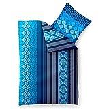 2-teilige Sommer-Bettwäsche   4-Jahreszeiten 155 x 220 cm   Baumwolle Trend Nala 2 tlg.   gestreift gemustert blau weiß