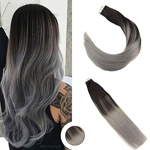 Ugeat 45cm liscio capelli umani di alta qualita tape extensions capelli veri 50g/20pcs remy capelli colorati fuori dal nero e grigio #1b/silver