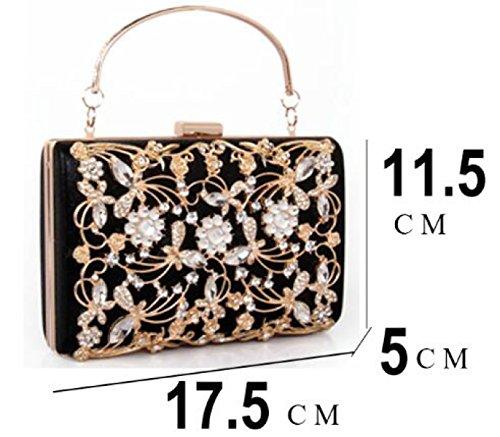 Thread Metall Strass Abendtasche Kleine Box Diamant Kupplung Abendtasche Braut Clutch Messenger Bag RoseRed