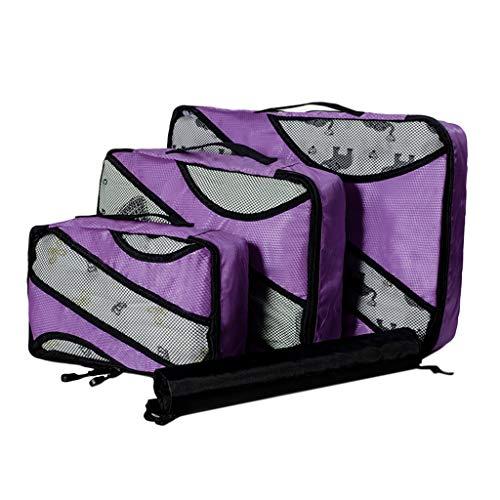 XNBZW Paket Tasche Set 3 Stücke / 5 Stücke Große Kapazität Multifunktionale Wasserdichte Reisetasche Paket Tasche Set(Lila)