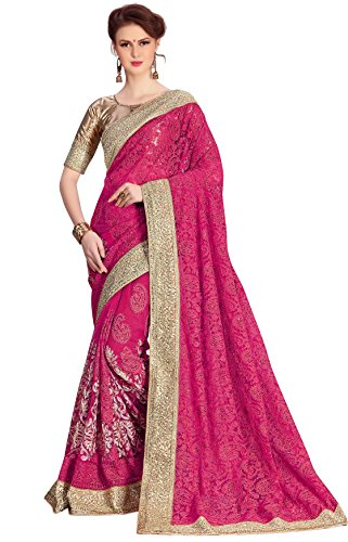 Panash Trends Women's Heavy Embroidered & Hand Work Stone Saree (UJJ.K695_Pink Color)