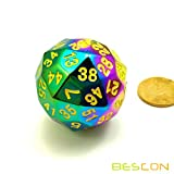 Bescon New Fantasy Iridescent Solid Metal 60 Sides Dice, Rainbow Metallic...