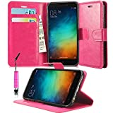 N+ India Leather Wallet Flip Case Cover Pouch for Xiaomi Redmi 3S Prime with Touch Stylus Pen Pink